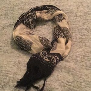 Accessories - Black paisley and ivory scarf